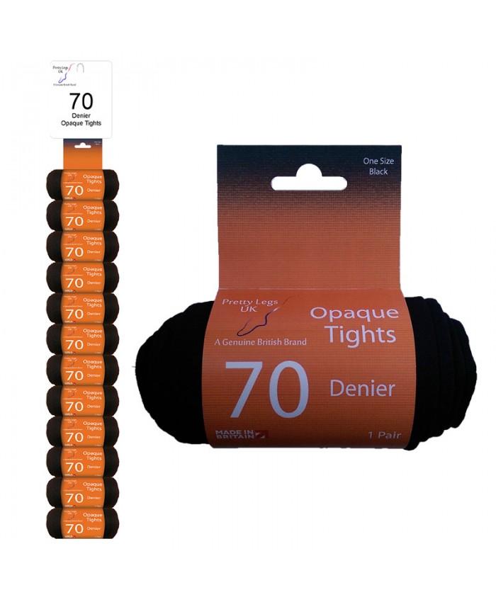 Pretty Legs 70 Denier Opaque Tights with LYCRA - Clip Strip