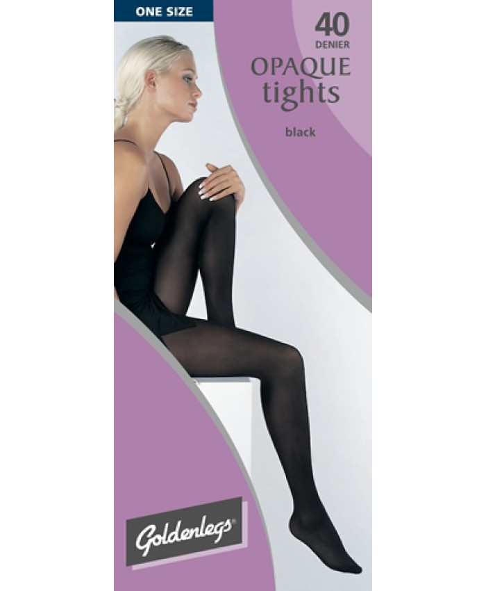 """Goldenlegs One Size 40 Denier Opaque Tights (upto 42""""hip/107cms) BLACK ONLY"""