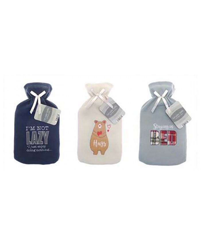 Hot Water Bottle with Fleece Cover 2L (Assorted)
