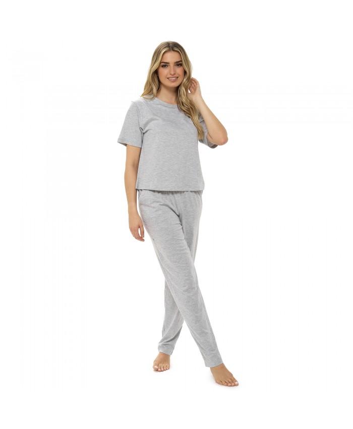 Ladies Short Sleeve Plain Top Pyjamas Grey Marl