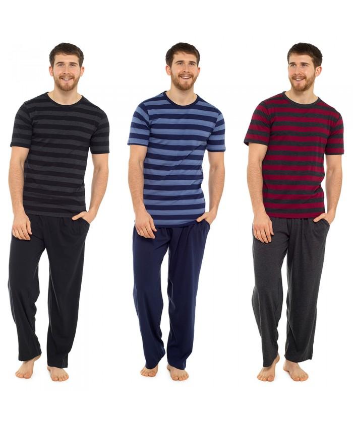 Men's Long Jersey Pyjamas - Stripe T-Shirt