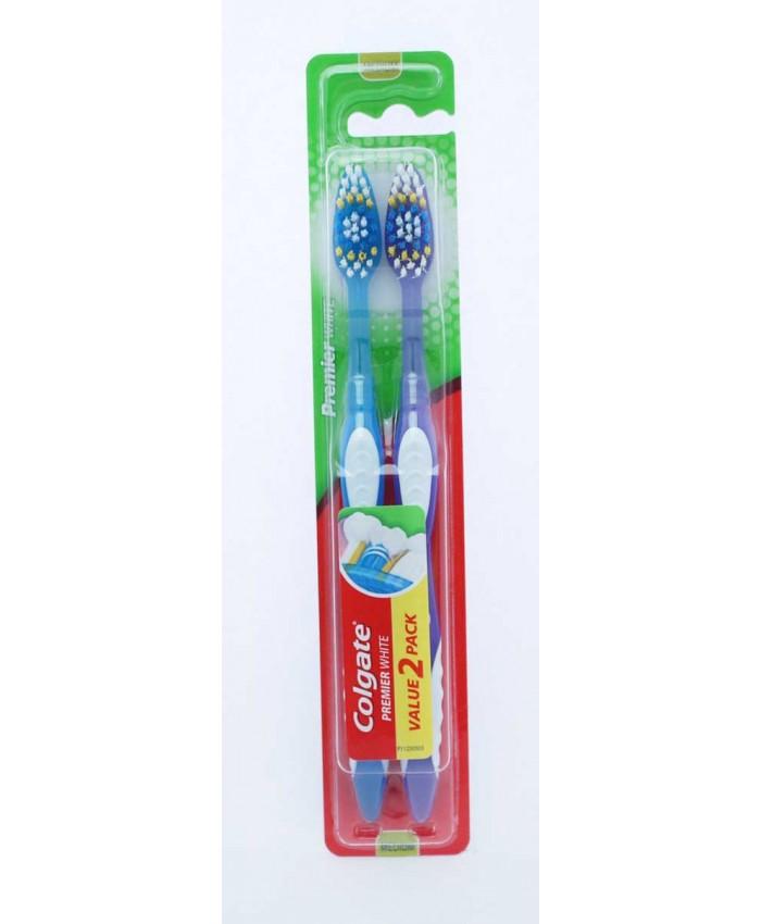 Colgate Toothbrush Premium White Medium TWIN PACK