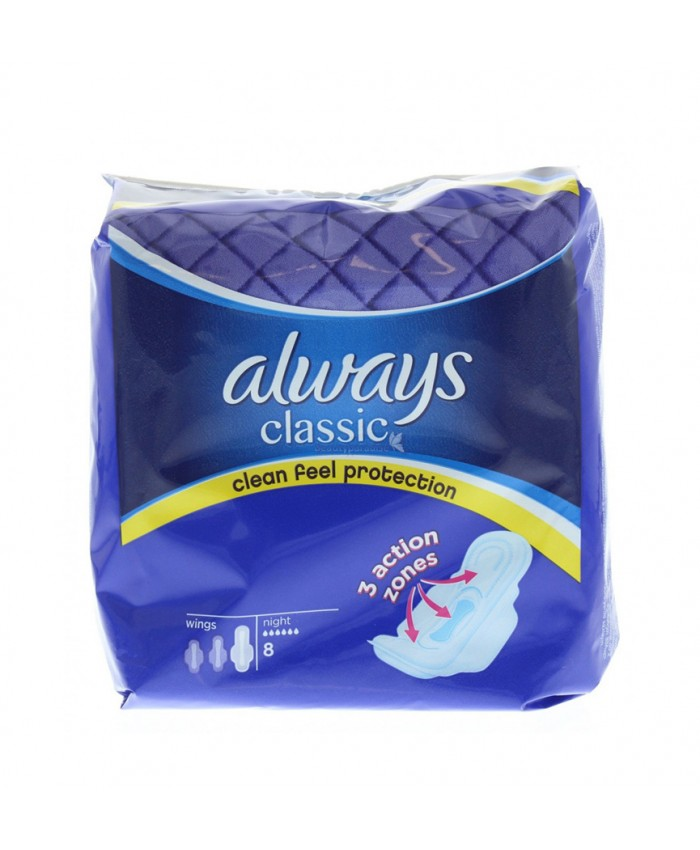 Always Classic Night Sanitary Pads with wings 8's