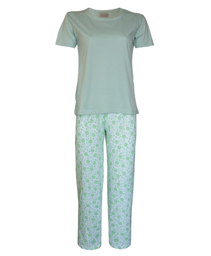 Ladies Long Pyjamas with Plain Top and Flower Design Trousers