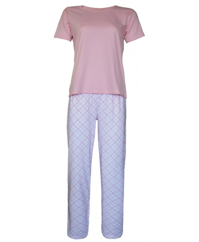 Ladies Long Pyjamas with Plain Top and Tartan Design Trousers
