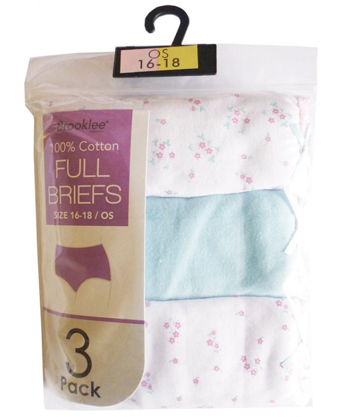 Ladies 3 Pack Full Briefs