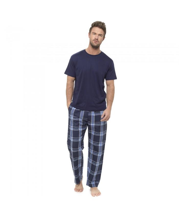 Men's Long Jersey Pyjamas - Check